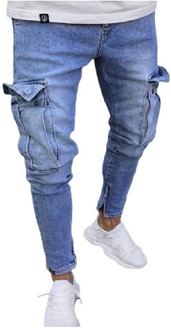 EnergyWD Men's Zip Holes Stretchy Fabric Multi-pocket Cut Out Retro Jean Pant