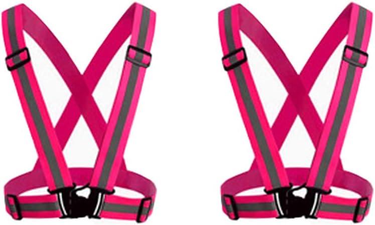 Hycoprot 2 X Reflektierend Laufen Weste Reflektorweste Sicherheitsweste Fahrrad Motorrad Auto Leicht Elastisch Laufweste Joggen Für Damen Herren Erwachsene Kinder Rosa Auto