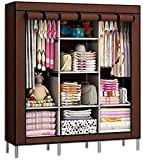 Anva Iron Fancy and Portable Foldable Almirah Wardrobe with 6 Cabinet and 2 Long Shelves Clothes Organizer Multicolor