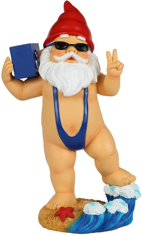 Funny Garden Gnome with Beer and Mankini, Funny 9-inch Tall Lawn Gnome Statue, Solid Construction Will Not Break, Garden Decoration Funny Garden Gnome Outdoor Decoration