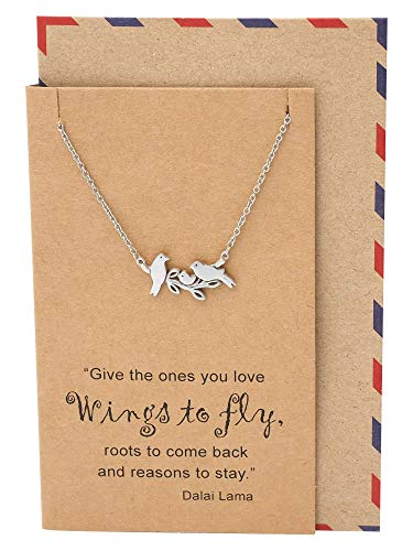 Quan Jewelry Little Birds on Branch Pendant Necklace for Women, Animal Pendant Necklace, Gifts for Moms, Sisters, Grandmoms, Family Jewelry comes with Inspirational Dalai Lama Quote (Bird Necklaces)