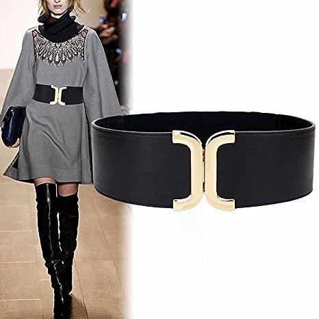 LONFENN Donne Ms LADY CAPPOTTO cintura in pelle cuoio cinghia maglione abito  moda elastico in vita 5bdb7ac82a0