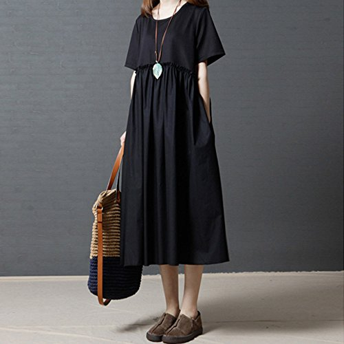 Womens Dresses Clearance Sale! Women's 3/4 Sleeve Casual Loose Cotton Linen Soild High Line Long Dress Daily by ILUCI Womens Dresses (Image #4)