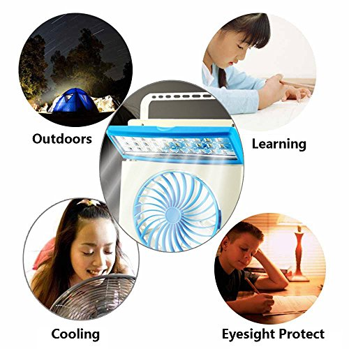 Ansee 3 in 1 Multi-functional Solar Cooling Table Fans with Eye-Care LED Table Lamp Flashlight Solar Panel Adaptor Plug for Home Use Camping (Blue) by Ansee (Image #7)
