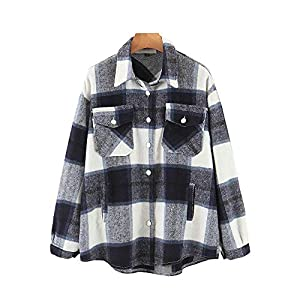 Womens Casual Wool Blend Plaid Lapel Button Down Long Sleeve Shacket Jacket Coat Winter Loose Oversize Shirts