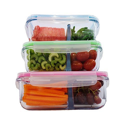 698e6e041538 Elacra Glass Food Storage 2 Compartment Containers - Meal Prep - Import It  All