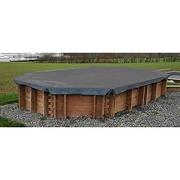Cubierta invierno piscina GRE rectangular o cuadrada madera 580 g/m² - 1000 x 400 cm, Rectangular: Amazon.es: Juguetes y juegos
