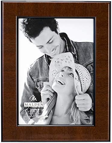 Malden International Designs Burl Wood Walnut Wooden Picture Frame with Black Border, 5×7, Walnut