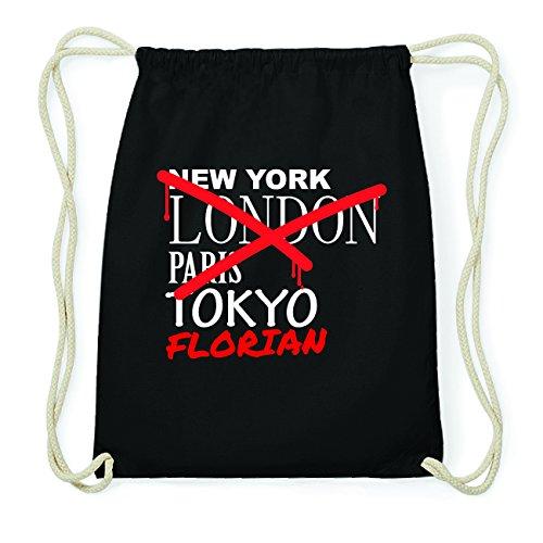 JOllify FLORIAN Hipster Turnbeutel Tasche Rucksack aus Baumwolle - Farbe: schwarz Design: Grafitti ei6g4u2vC