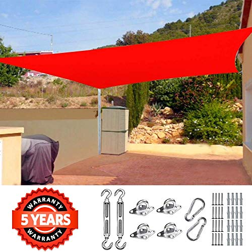 Quictent 26 X 20 ft 185G HDPE Rectangle Sun Shade Sail Canopy 98 UV Block Outdoor Patio Garden with Free Hardware Kit Red