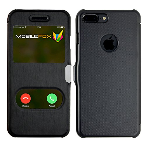 Mobilefox James Schutzhülle Flip Touch Cover Apple iPhone 7 Plus Schwarz