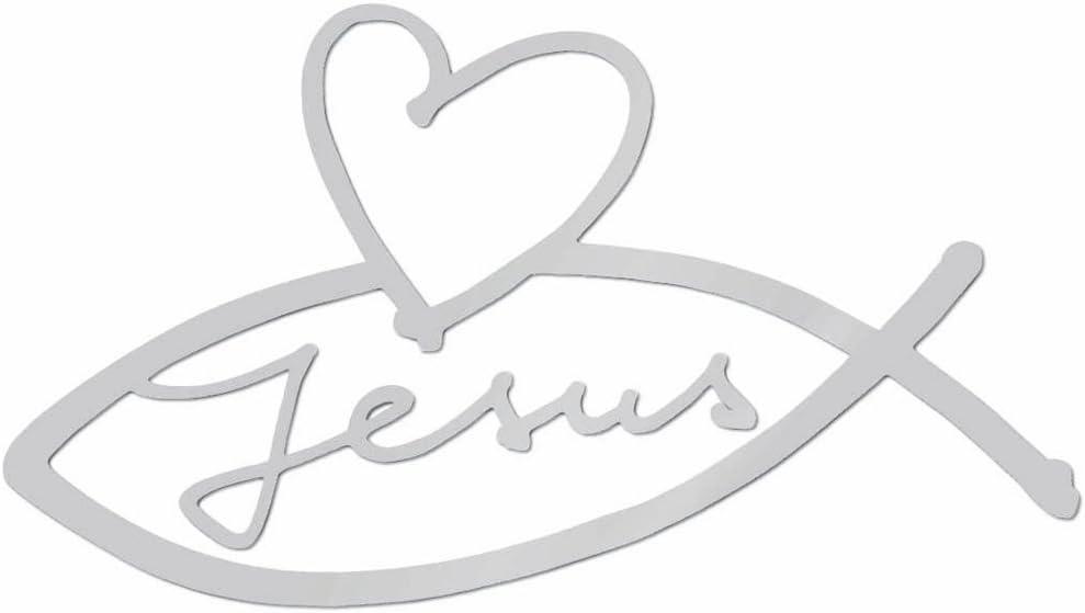 Uljö Aufkleber Silber Jesus Herz Fisch Küche Haushalt
