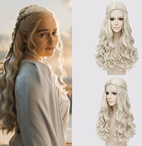 Shangke Fluffy Cosplay Wigs For Game Of Thrones Daenerys Targaryen Blonde Curly Wig Long Wig Hair Curly Wave Hairs For Women