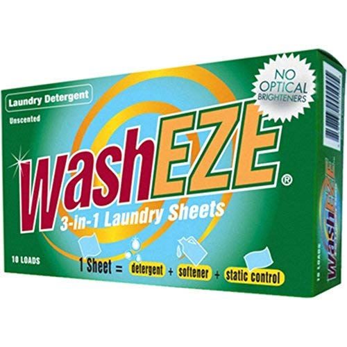 WashEZE 3-in-1 Laundry Detergent - Sheets 10 Count, No Scent Portable Individual Packages For Easy Travel. Space Saving and More Efficient than pods, pacs, liquids or powders.