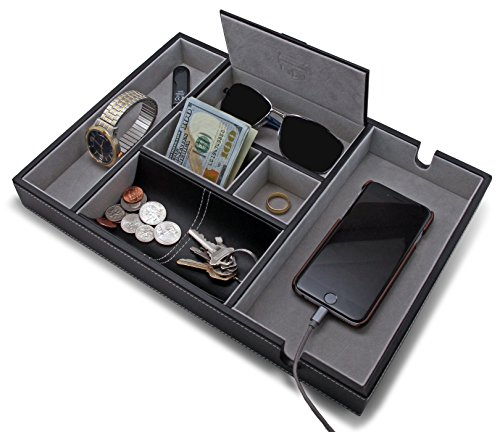 HOUNDSBAY ''Victory Valet Tray for Men with Large Smartphone Charging Station (Grey) by HOUNDSBAY