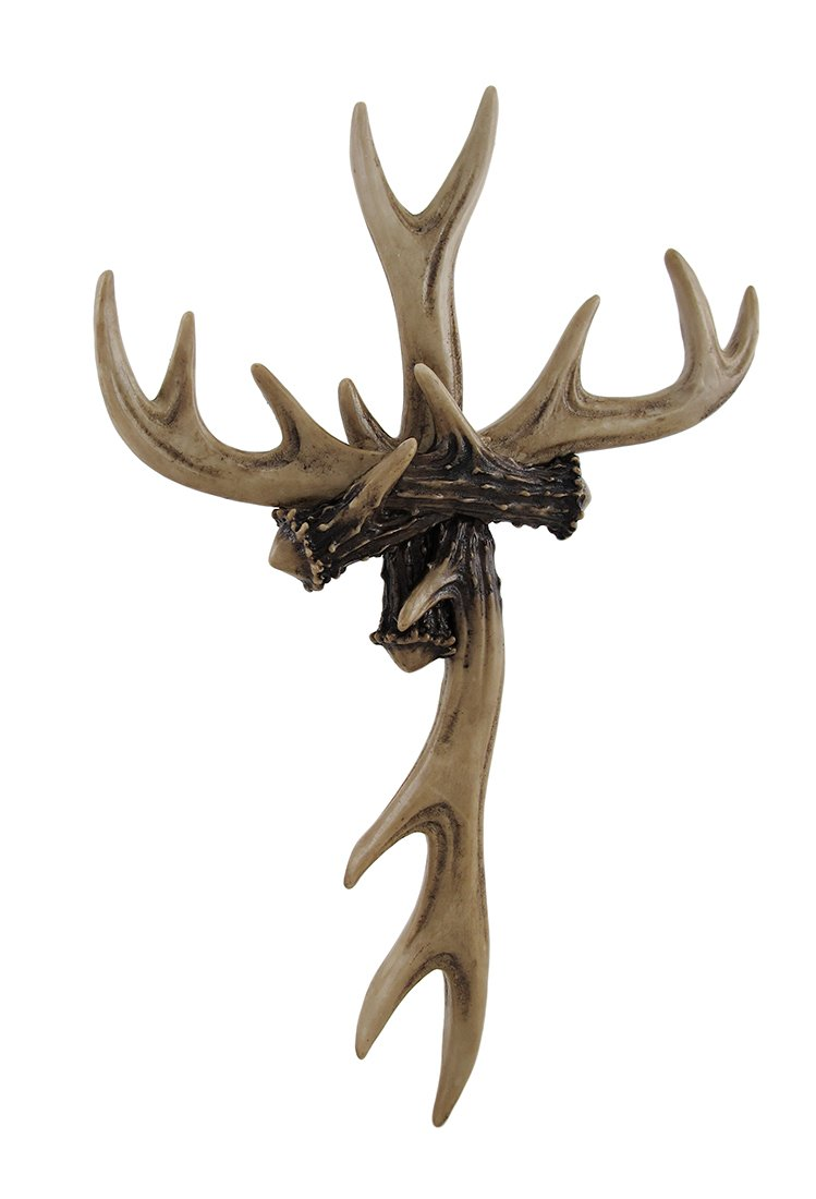 Resin Wall Crosses Rustic Deer Antler Wall Cross Lodge Cabin Decor 9 X 14 X 1 Inches Off-White