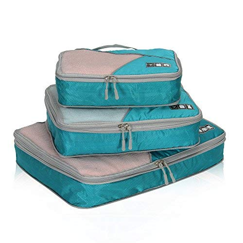 - Hynes Eagle Travel Compression Packing Cubes Expandable Packing Organizer 3 Pieces Set Teal