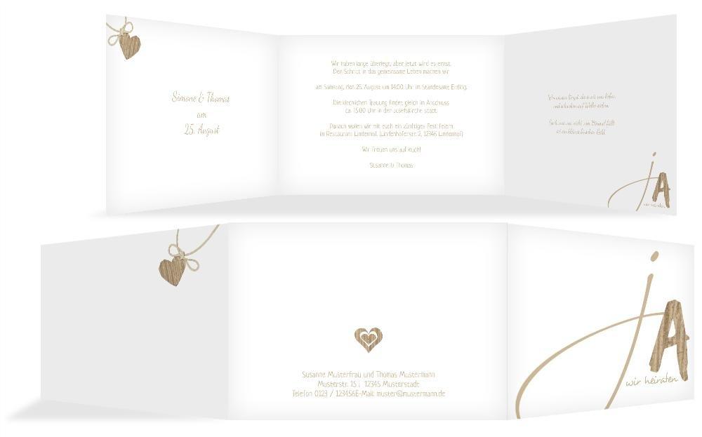 Hochzeitskarten  Einladung natürlich Ja 2, hochwertige Einladung zur Heirat inklusive Umschläge   30 Karten (format  148.00x105.00mm) Farbe  Braun B074V67TV3 | Ausgang  | Leicht zu reinigende Oberfläche  | Schöne Farbe
