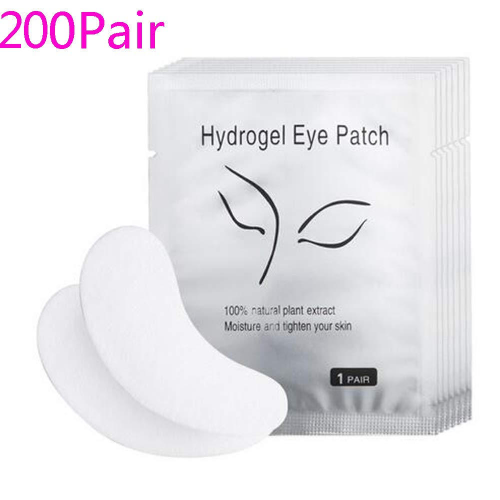 Wecando 200 Pairs Under Eye Gel Pads Eyelash Extension Pads Lint Free DIY False Eyelash Lash Extension Makeup Eye Gel Patches (200, Pink)