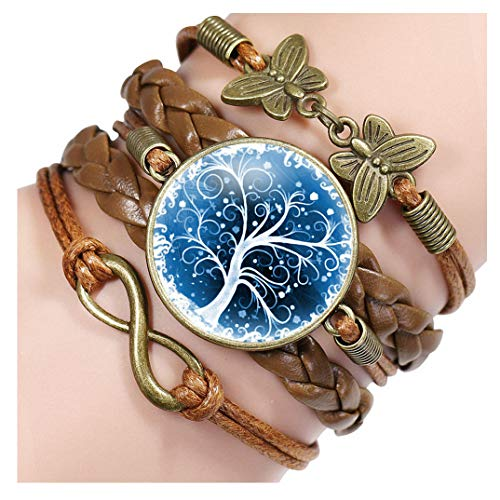 - Giwotu New Life Tree Pattern Braided Retro Bracelet Vintage Bronze Butterfly Charm Leather Bracelet & Bangles 12005505