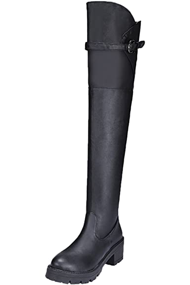 3cd600f50bcab BIGTREE Reitstiefel Damen Schwarz Herbst Winter Warm Blockabsatz ...
