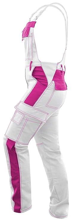 Baumwolle Maleranzug strongAnt Damen Arbeitshose Arbeits-Latzhose Wei/ß Pink f/ür Frauen Malerhose komplett Stretch mit Kniepolstertaschen Made in EU