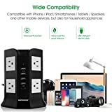 Safemore Smart 8-Outlet with 4-USB Output Power Strip (Black and White)