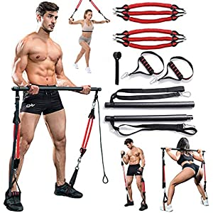 Well-Being-Matters 51kM8jLlQ2L._SS300_ VWMYQ 60-180LBS Adjustable Pilates Toning Bar Kit, with Anti-Break Resistance Bands, Door Anchor, Full Body Dynamic…