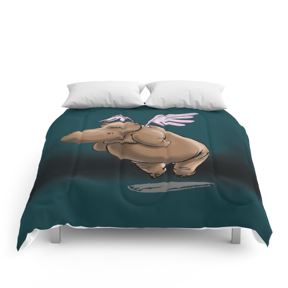 Society6 Giving Hippos Wings Comforters Queen: 88'' x 88''