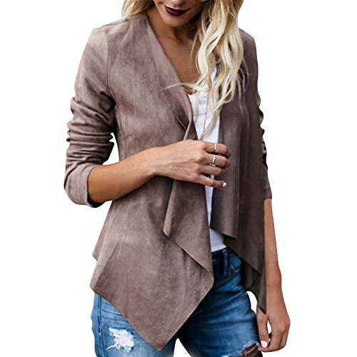Women's Casual Faux Suede Cardigan Long Sleeve Solid Trench Open Front Coat (Tag Size L(US6), Coffee)