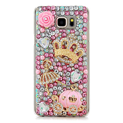 Diamond Cover Crystal Case Hard (Note 5 Case,Galaxy Note 5 Case - Mavis's Diary 3D Handmade Bling Crystal Luxury Cute Pumpkin Car Golden Crown Dancing Girl Shiny Sparkling Pink Diamonds Gems Clear Hard Cover for Samsung Galaxy Note 5)