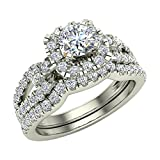 1.05 ct tw Diamond Loop shank Cushion Shape Wedding Ring Set 14K White Gold (Ring Size 6)