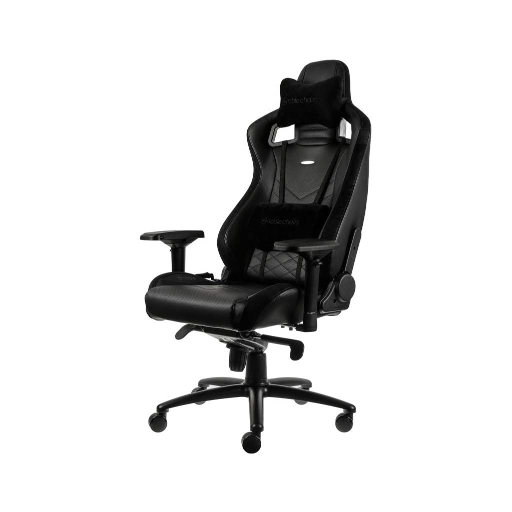 noblechairs Epic Gaming Chair - Office Chair - Desk Chair - PU Faux Leather - 265 lbs - 135° Reclinable - Lumbar Support Cushion - Racing Seat Design - Black by noblechairs