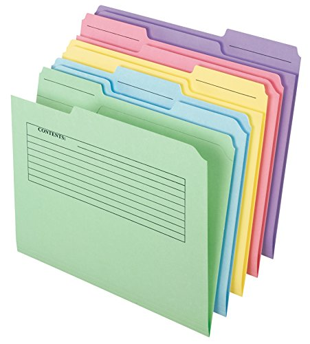 Pendaflex Printed Notes File Folders, 1/3 Cut, Top Tab, Letter Size, Assorted Colors, 30 per pack (45269) ()