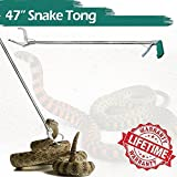 """IC ICLOVER 47"""" Extra Heavy Duty Standard Reptile Snake Tongs Reptile Grabber Rattle Snake Catcher Wide Jaw Handling Tool"""