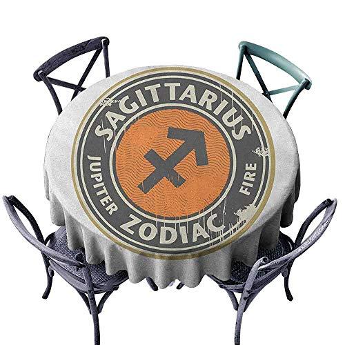 Jacquard Beige Logo - ScottDecor Dinning Round Tablecloth Jacquard Tablecloth Zodiac Sagittarius,Zodiac Themed Logo Design Jupiter and Fire Grunge Image, Dark Taupe Beige Orange Diameter 54