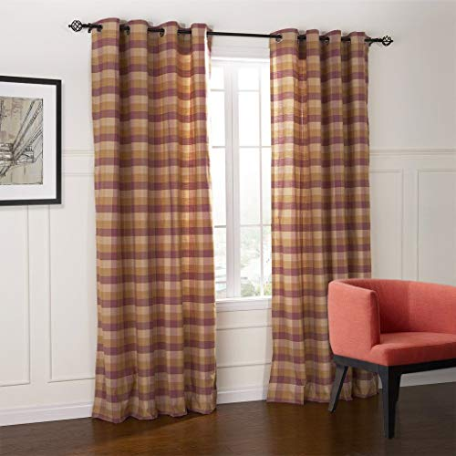 (IYUEGOU Country Fresh Style Warm Color Plaid Eco-Friendly Grommet Top Curtains Draperies with Multi Size Custom 42