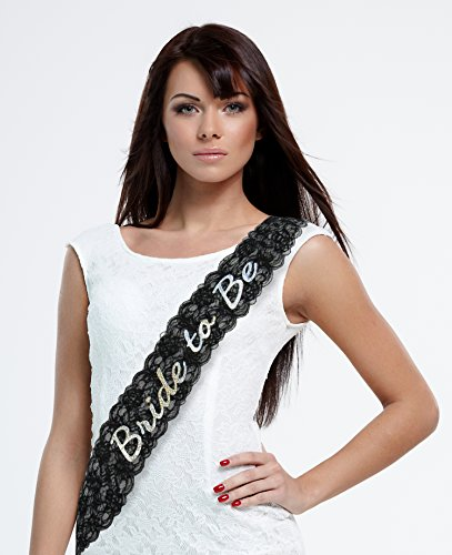Bride to Be Sash - Black Lace Bachelorette Sash – Stunning Bridal Shower Sash, Bachelorette Party Sashes, Future Mrs, Bridal Party, Hen Party, Bachelorette Party Accessories, Supplies, Favors - Back To The Future Party Costume Ideas