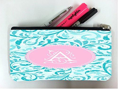 (Monogram Letter A Swirls Student Pen Pencil Case Coin Purse Pouch Cosmetic Makeup Bag)