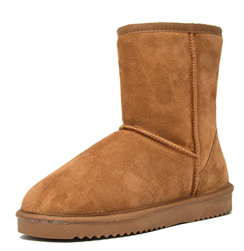 DREAM PAIRS Women's Shorty Chesnut Sheepskin Fur Ankle High Winter Snow Boots - 9 M (Ladies Sheepskin Boots)