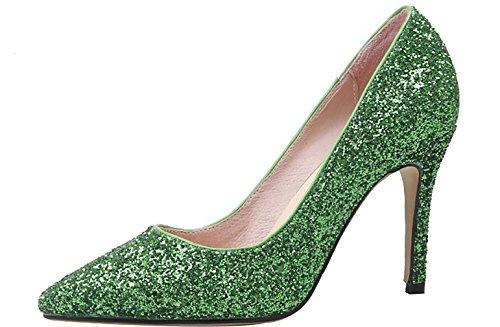Calaier Women Calaaei Pointed-Toe 9CM Stiletto Slip-On Court Shoes Green CvcE4