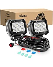 Nilight ZH010 2PCS 4 Inch 18W Flood Bars Work Led Fog Driving Lights with Off Road Wiring Harness, 2 Years Warranty