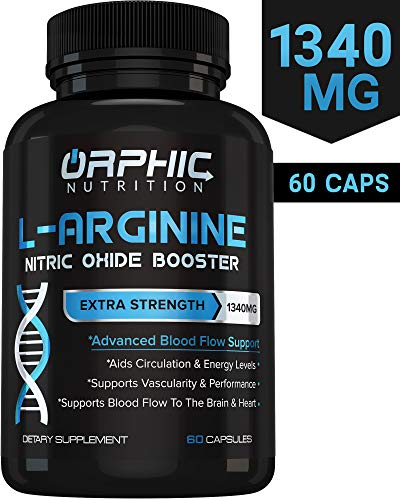 Extra Strength L Arginine – Nitric Oxide Supplement for Muscle Growth, Exercise Performance and Endurance, Vascularity, Heart Health, Increased Energy, Brain Function, Blood Flow Enhancer – 60 Caps