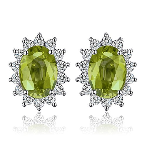 Jewelrypalace Gemstones Birthstone 1.2ct Natural Peridot Stud Earrings For Women 925 Sterling Silver Earrings For Girls Princess Diana William Kate Halo Earrings