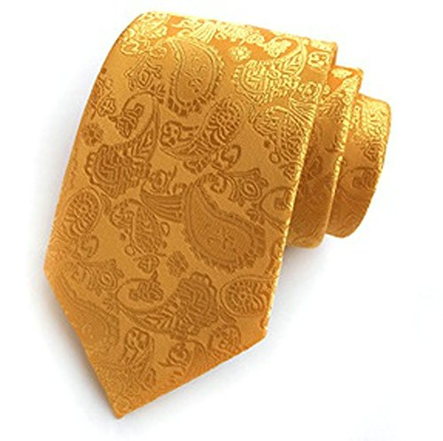 Design Box with clip Polyester amp; Paisley Ouvin handkerchief Gift Colourful Tie Silk Neck cufflinks Set tie Yellow Men's 8ZxqCt