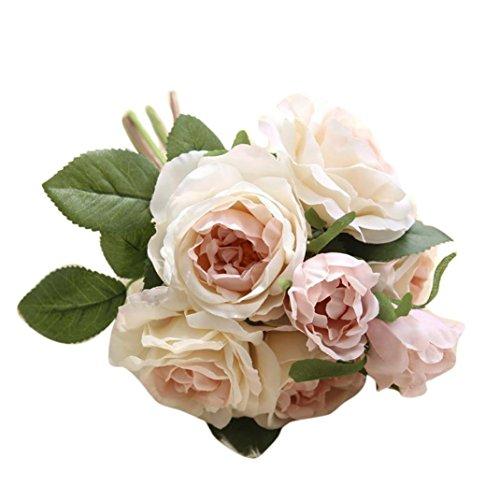 Bountiful Rose Bouquet - Lookatool Artificial Flowers, Rose Bouquet Floral Wedding Bouquet Party Home Decor GF15981A
