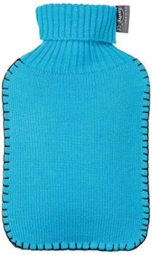 Fashy 6715 51 Wärmflasche mit Rollkragen-Strickbezug, 2 Liter, hellblau
