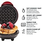 """Dash Mini Maker: The Mini Waffle Maker Machine for Individual Waffles, Paninis, Hash browns, & other on the go Breakfast, Lunch, or Snacks 10 MORE THAN WAFFLES: Make paninis, hash browns, and even biscuit pizzas! Any wet batter will """"waffle"""" your treats and snacks into single serving portions. Great for kids or on the go! COMPACT + LIGHTWEIGHT: Weighing 1lb+, this is a MUST-HAVE for that first apartment, smaller kitchen, college dorm life, or camper/RV traveling QUICK + EASY: Simply plug it in and go; it heats up in mere minutes. The dual non-stick surfaces provide an even cook for consistent results, each and every time"""