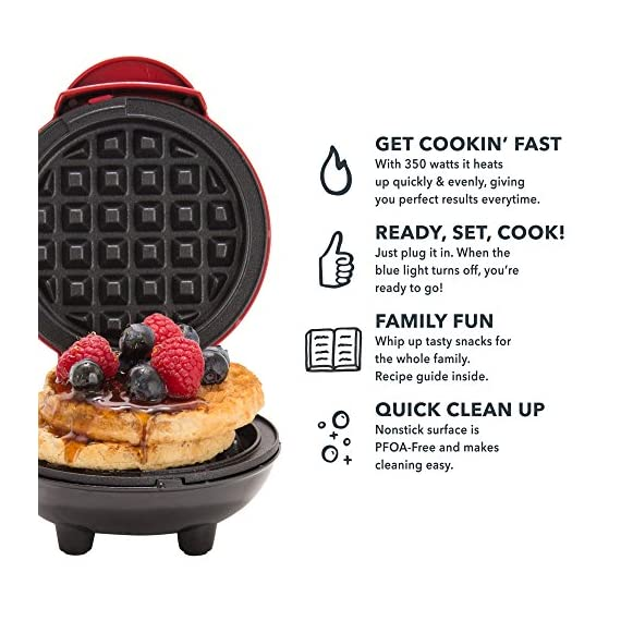 """Dash Mini Maker: The Mini Waffle Maker Machine for Individual Waffles, Paninis, Hash browns, & other on the go Breakfast, Lunch, or Snacks 4 MORE THAN WAFFLES: Make paninis, hash browns, and even biscuit pizzas! Any wet batter will """"waffle"""" your treats and snacks into single serving portions. Great for kids or on the go! COMPACT + LIGHTWEIGHT: Weighing 1lb+, this is a MUST-HAVE for that first apartment, smaller kitchen, college dorm life, or camper/RV traveling QUICK + EASY: Simply plug it in and go; it heats up in mere minutes. The dual non-stick surfaces provide an even cook for consistent results, each and every time"""