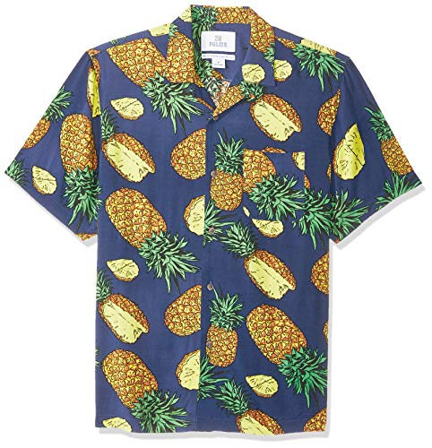 28 Palms Men's Standard-Fit Vintage Washed 100% Rayon Tropical Hawaiian Shirt, Blue Large Pineapple, X-Small